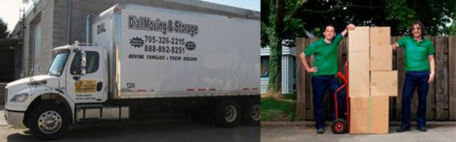 moving truck and movers carrying a box